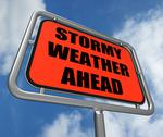 Stock Illustration of stormy weather ahead sign shows storm warning or danger