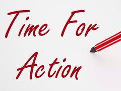 Stock Illustration of time for action on whiteboard means inspiration and encouragement