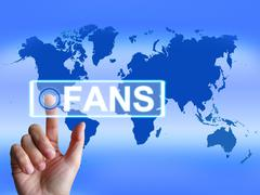 fans map shows worldwide or internet followers or admirers - stock illustration