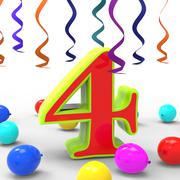 Number four party shows creative decoration or adornments Stock Illustration