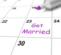 Stock Illustration of get married calendar shows wedding and spouse