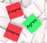 Stock Illustration of agree disagree post-it notes show in favor of or against