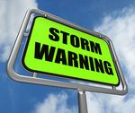 Stock Illustration of storm warning sign represents forecasting danger ahead