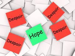 Hope despair post-it notes show longing and desperation Stock Illustration