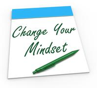 change your mind set notebook shows optimism and reactive attitude - stock illustration