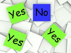 Stock Illustration of yes no post-it notes show agree or disagree