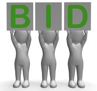 Stock Illustration of bid banners shows auction bidder and auctioning