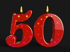 Number fifty candles show fiftieth birthday candles or celebration Stock Illustration