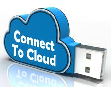 Connect to cloud pen drive means connection support Stock Illustration