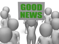 Stock Illustration of good news board character means receiving great news