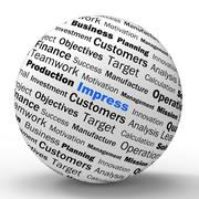 Impress sphere definition shows satisfactory impression or excellence Stock Illustration