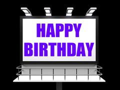 Happy birthday sign represents happiness celebration and greetings Piirros