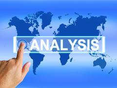 Analysis map indicates internet or worldwide data analyzing Stock Illustration