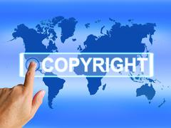copyright map means worldwide patented intellectual property - stock illustration