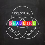deadline words show stress worry and pressure of time limit - stock illustration