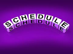 Schedule blocks mean program itinerary and organize agenda Stock Illustration