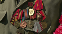 The military order on the chest of a veteran of the Second World war. - stock footage