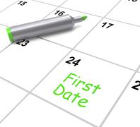 First date calendar shows seeing somebody and romance Stock Illustration