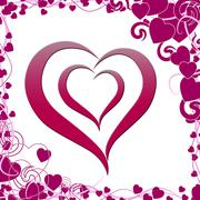 heart on background means artistic love or passionate art - stock illustration