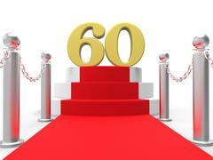 Golden sixty on red carpet means movies and films awards Stock Illustration