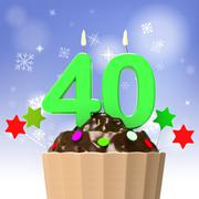 forty candle on cupcake shows special occasion or event - stock illustration