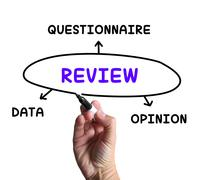 review diagram shows data questionnaire or opinion - stock illustration