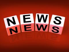 News blocks show broadcast announcement and headlines Stock Illustration