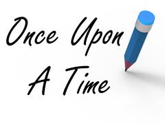 Once upon a time with pencil shows long ago nostalgia Stock Illustration