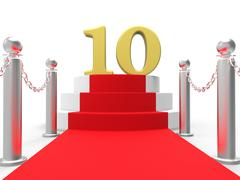 Golden ten on red carpet shows film industry awards and prizes Stock Illustration
