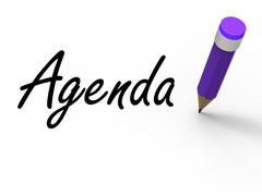 Agenda with pencil means written agendas schedules or outlines Stock Illustration