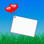 Heart balloons on note means affection and passion Stock Illustration