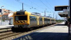 Passengers Train Leaving the Station Stock Footage