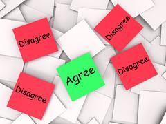 agree disagree post-it notes mean opinion agreement or disagreement - stock illustration