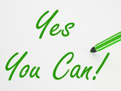 yes you can! on whiteboard means encouragement and optimism - stock illustration