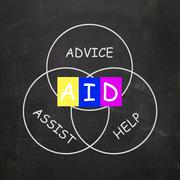 Supportive words are advice assist help and aid Stock Illustration