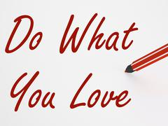 Do what you love on whiteboard means inspiration and satisfaction Stock Illustration