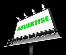 Advertise sign represents promotion and advertisement message Stock Illustration