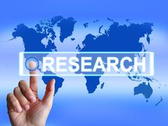 Research map represents internet researcher or experimental analyzing Stock Illustration
