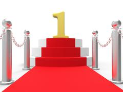 Golden one on red carpet means film industry awards or event Stock Illustration