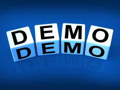 Demo blocks indicate demonstration test or try-out a version Stock Illustration