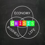 Business life crisis means failing economy or depression Stock Illustration