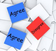 Stock Illustration of agree disagree post-it notes mean opinion and point of view