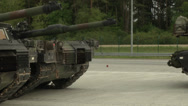 Stock Video Footage of us army abrams tank parks in formation