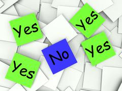 Stock Illustration of yes no post-it notes show affirmative or negative