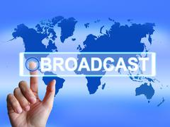broadcast map shows international broadcasting and transmission of news - stock illustration
