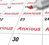 Anxious calendar shows worried fearful and concerned Stock Illustration