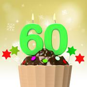 Sixty candle on cupcake shows family reunion or celebration Stock Illustration