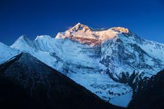 Sunrise in annapurna mountains Stock Photos