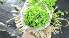 Portion of flat leaf parsley (loopable) Stock Footage