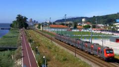Train seen from Above , near the Tagus River Stock Footage